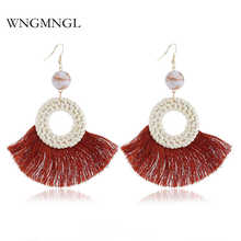 WNGMNGL 2018 New Fashion 8 Colors Vintage Rattan weaving Drop Tassel Earrings for Women Female Fringed Statement Jewelry Gift