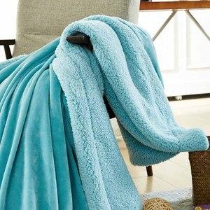 Image 5 - CAMMITEVER Home Textil Flanell Lamm Kaschmir Doppel Dicke Decke Mit Hülse Auf Dem Bett Solide Flauschigen Bettwäsche Bettdecke