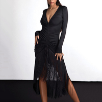 Black Latin Dance Dress Sexy Women Dancing Fringe Dresses Tango Cha Cha Salsa Practice Clothing Samba Tassel Dance Wear DC1307