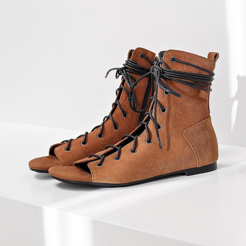 Ayakk.'ten Ayak Bileği Çizmeler'de MORAZORA 2019 sıcak satış yarım çizmeler kadın inek süet yaz çizmeler çapraz bağlı düz ayakkabı kadın gladyatör sandalet kadın ayakkabı'da  Grup 3