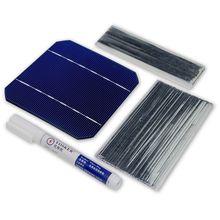 10 pièces cellule solaire monocristall 5x5 avec 20 M fil de tabulation 2 M fil de barre omnibus et 1 pièces stylo de Flux