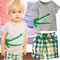 boys clothes 2016 casual summer 2pcs cartoon children clothing set short plaid short sleeves T-shirt+shorts kids boys tracksuit