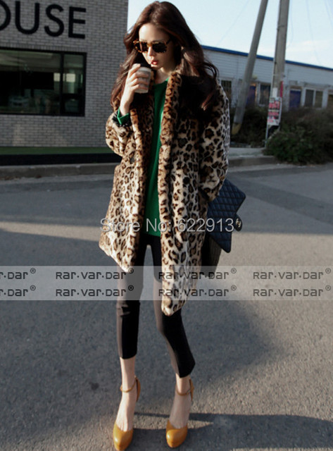 Леопард шуба женская осень и зима пальто женская верхняя одежда из искусственного меха turn down воротник С Длинными дизайн сгущает топ мех