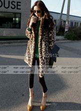 Leopard Fur coat women's autumn and winter overcoat female outerwear faux fur turn down collar Long design thicken top fur