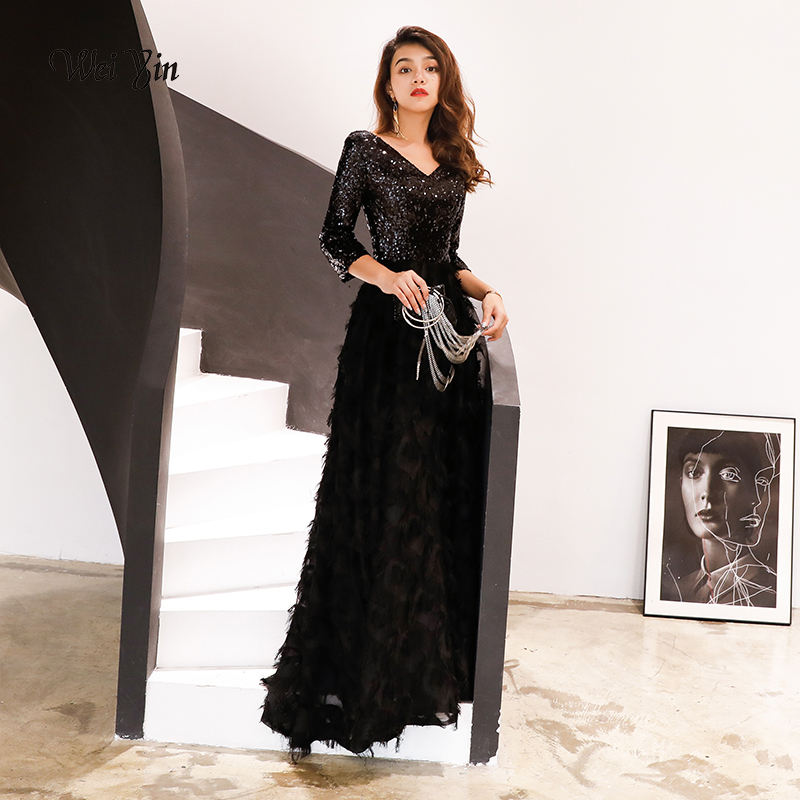 Weiyin Robe De Soiree 2019 New Elegant A Line V Neck Black Lace Long Formal Evening Dresses Sequined Party Gowns WY113