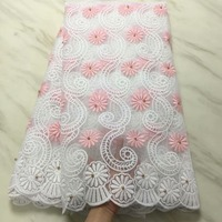 Белый + розовый молочный шелк нигерийские кружевные ткани для свадебного платья Африканский шнур кружева ткани высокого качества гипюрово...
