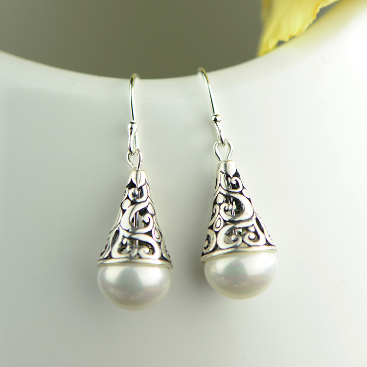 Beads Earrings, 925 Silver ntique water hollow water drop shaped Pearl Earrings Fashion Ladies earrings wholesale manufacturersBeads Earrings, 925 Silver ntique water hollow water drop shaped Pearl Earrings Fashion Ladies earrings wholesale manufacturers