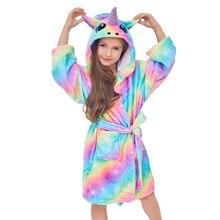 Детские фланелевые банные халаты с единорогом на осень и зиму, детские пижамы для девочек, ночная рубашка с единорогом, детская одежда для сна с капюшоном, ночная рубашка