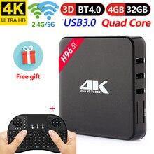 H96-III Android 7.1 TV Box Rockchip RK3328 Quad Core 4 GB RAM DDR3 32 Smart 2.4G+5GHz WiFi K H.265 Set Top pk T9