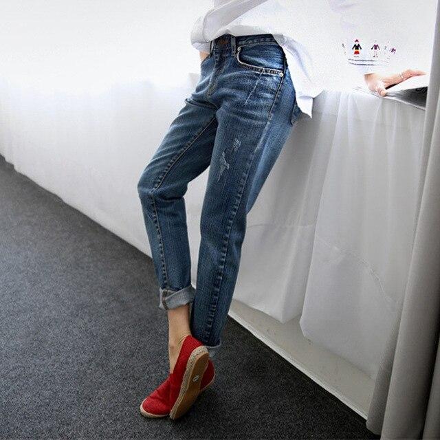 Boyfriend Jeans for Women 2018 Hot Sale Vintage Distressed Regular Spandex Ripped Jeans Denim Washed Pants Woman Jeans  ~~gai