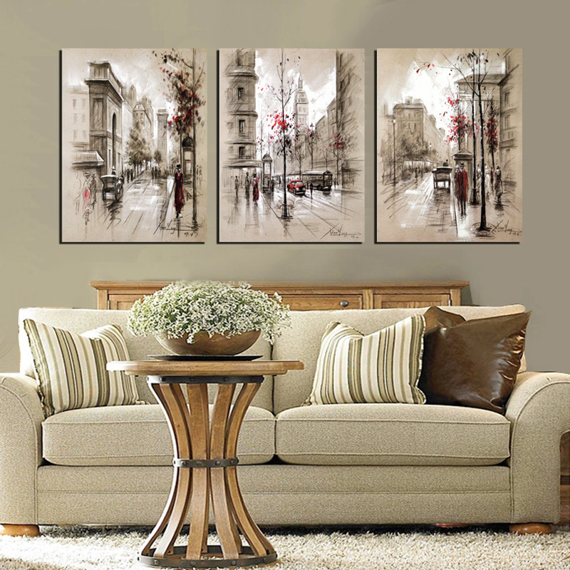 3 Pcs Wall Art Home Decor Canvas Painting Abstract City Street Landscape Decorative Paintings