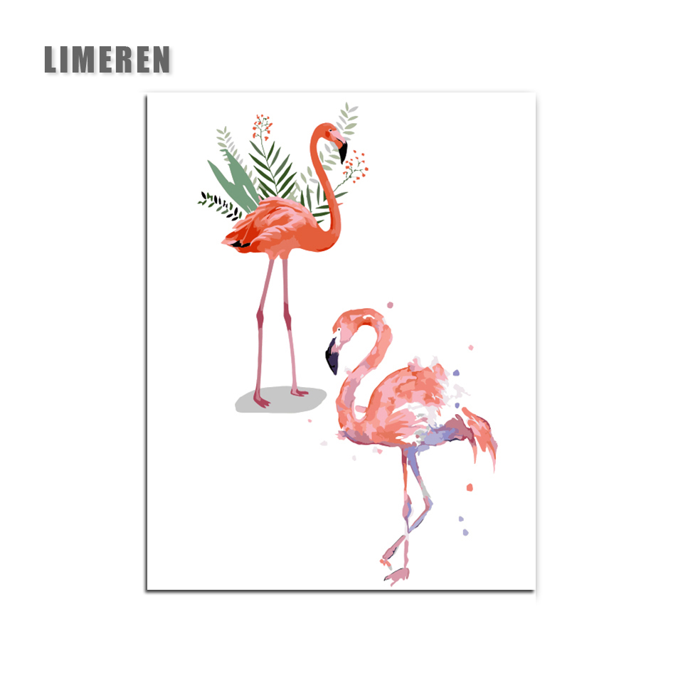 Ins Flamingo Animals Frameless DIY Painting Canvas <font><b>Bild</b></font> Painting By Numbers For Adults Unique Gift Modern Wall Art Picture image