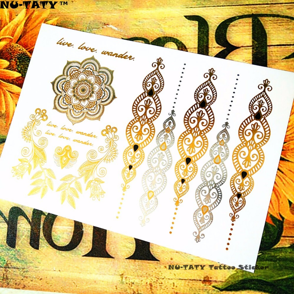 Nu-TATY 25 style Temporary 3D Tattoo Body Art, Choker Gold Designs, Flash Tattoo Sticker Keep 3-5 days maquiagem