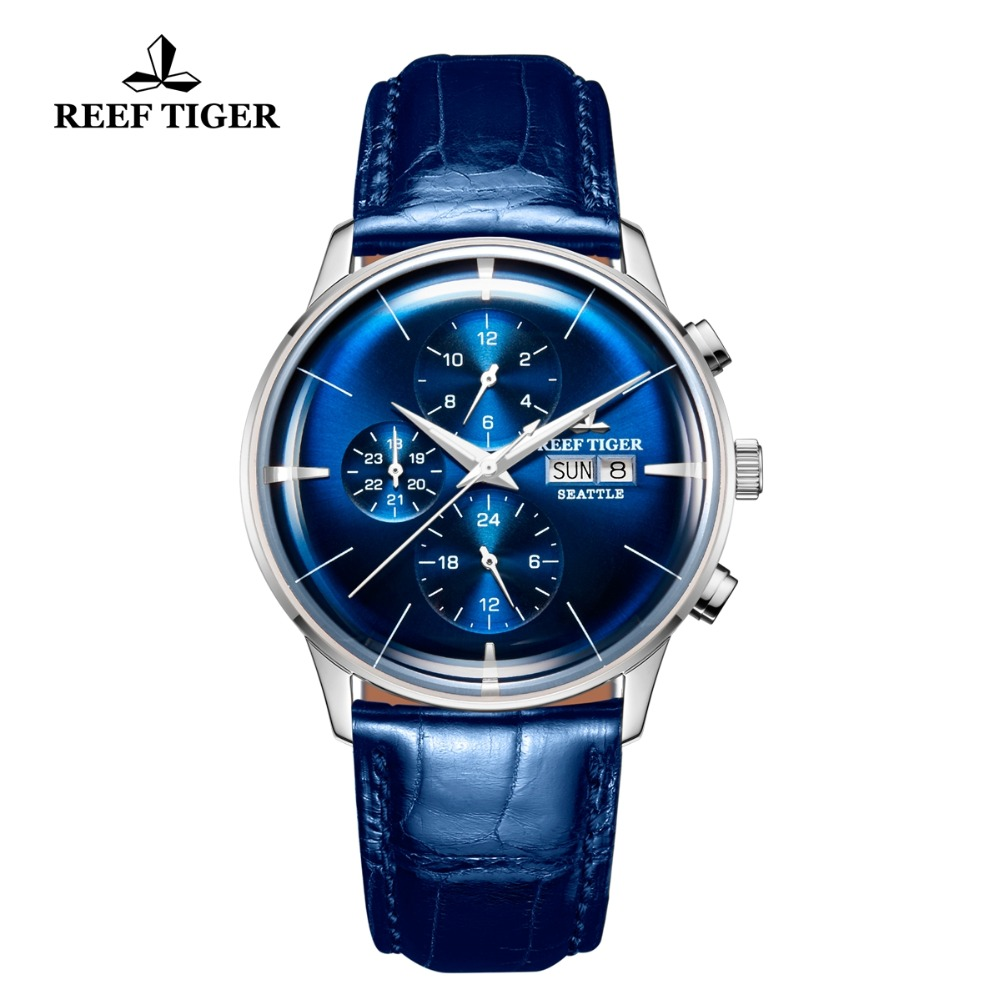 Reef Tiger RT 2019 Top Luxury Watch Mens Blue Dial Multi Function Mechanical Wristwatch Relogio Masculino