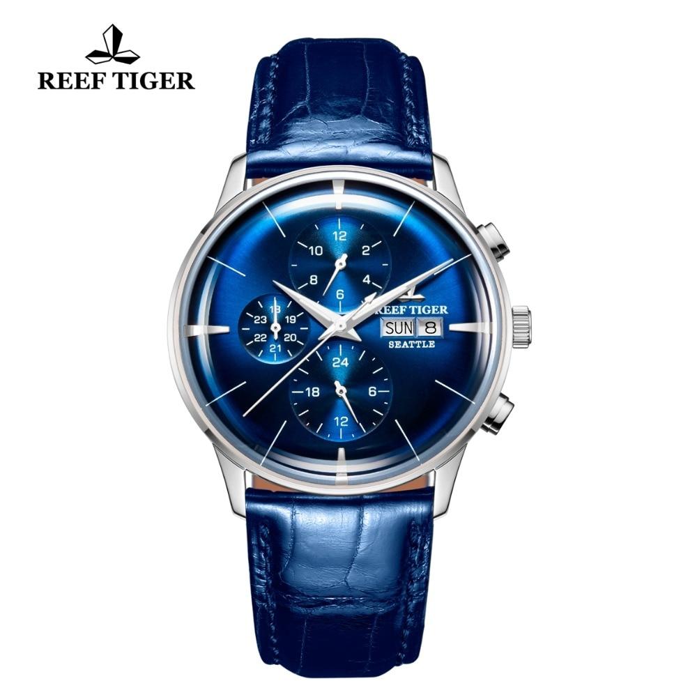 цены Reef Tiger/RT 2018 Top Luxury Watch Mens Blue Dial Multi Function Mechanical Wristwatch Relogio Masculino RGA1699