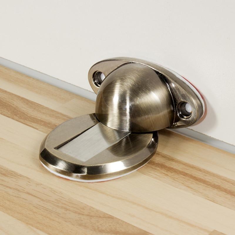 Magnet Door Stops Sticker Door Stopper Floor-Mounted Magnetic Door Holder Toilet Glass Door Hidden Doorstop Furniture Hardware floor mount magnetic lock door stopper door holder 606