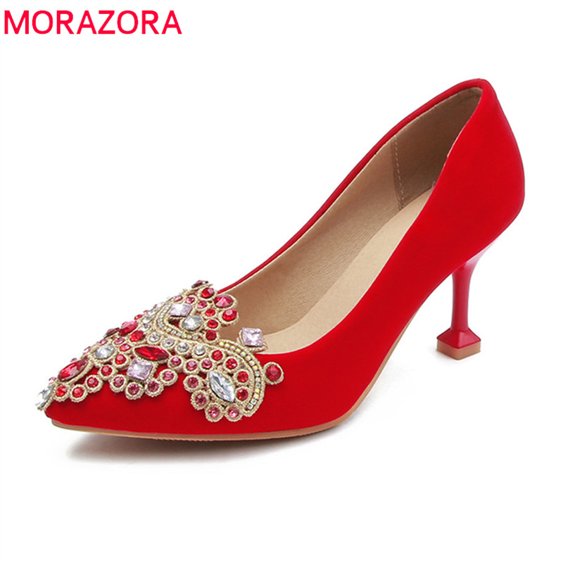 MORAZORA 2018 new arrive women pumps fashion pointed toe shallow comfortable simple wedding shoes red black high heels shoes память ddr4 dell 370 acky 4gb dimm ecc u pc4 17000 2133mhz