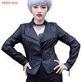 НАСЛАЖДАТЬСЯ ПЛЮС 10% ОТ груди 87-103 см искусственного пу красный белый короткий кожаный куртка женщин мотоцикл 2016 большой размер тонкий стиль осень S-XXL
