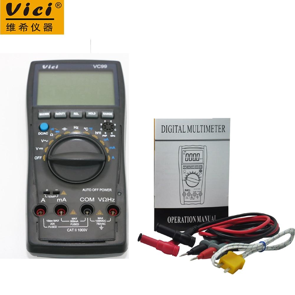 Vici vc99 3 6/7 faixa de multímetro digital voltímetro amperímetro & par térmico tk cabo acv/dcv/aca/dca