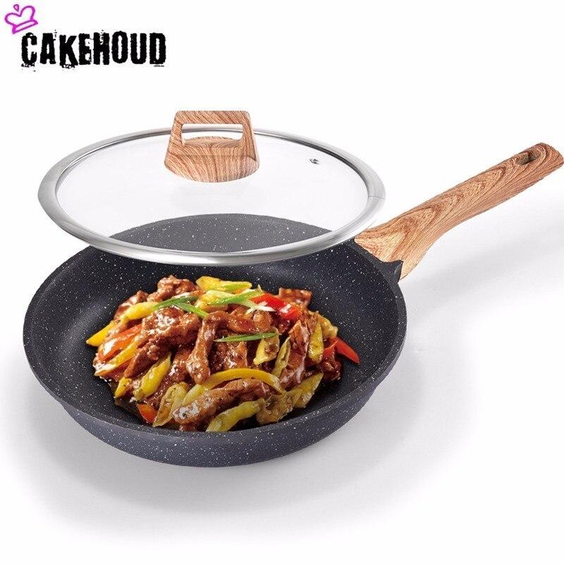CAKEHOUD multifonctionnel 24-28 CM Maifan Stone poêle antiadhésive sans fumée d'huile Wok Induction cuisinière four lave-vaisselle