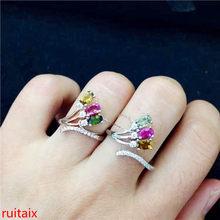 KJJEAXCMY joyería fina S925 turmalina rosa de plata, joyería de anillo de tres gemas para mujer poste de paquete de gemas naturales.