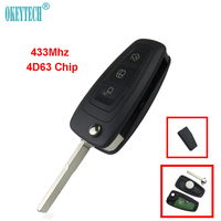 Okeytech 3 Button Flip Folding Remote Control Auto Car Key 433Mhz 4D63 Chip For Ford Focus
