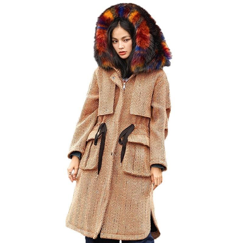 Renard Beige Vintage Laine Pardessus Size Survêtement Hiver Faux Femelle Manteau Fourrure B114 Grand Col Long Couleur Vêtements Plus Femmes De YIOHHq