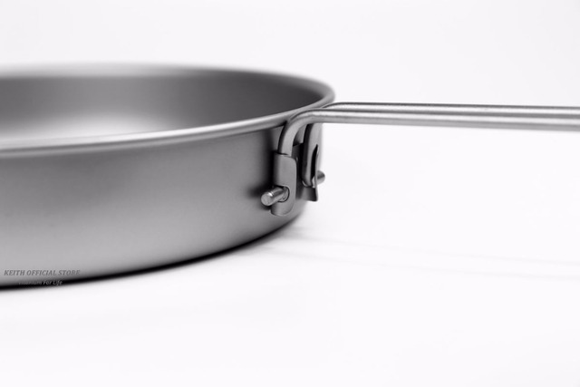 Keith Titanium Folding Frying Pan Ultralight Cooking Pot Portable Outdoor Camping BBQ Cookware Pot Tableware Cutlery 1L Ti6034