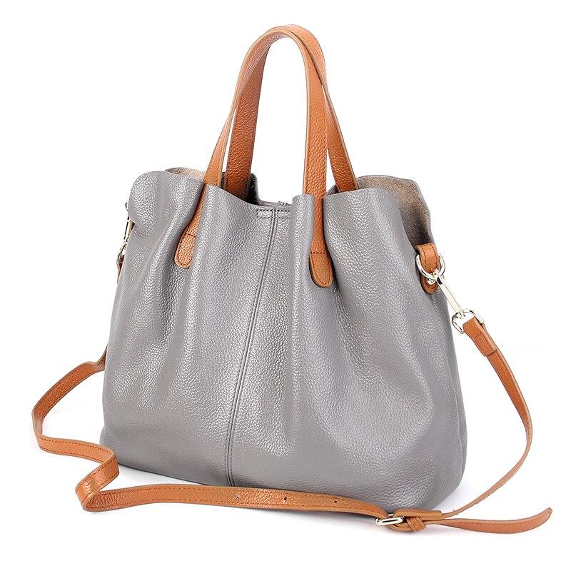 Women handbags cowhide litchi grain women handbags fashion Portable shoulder messenger bags composite bags