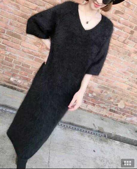 2019 Asli Mink Bulu Bulu Kasmir Panjang Sweater Gaun Nyata Mink Kasmir Panjang Pullover Hot Jual Kustom Ukuran Besar DFP860