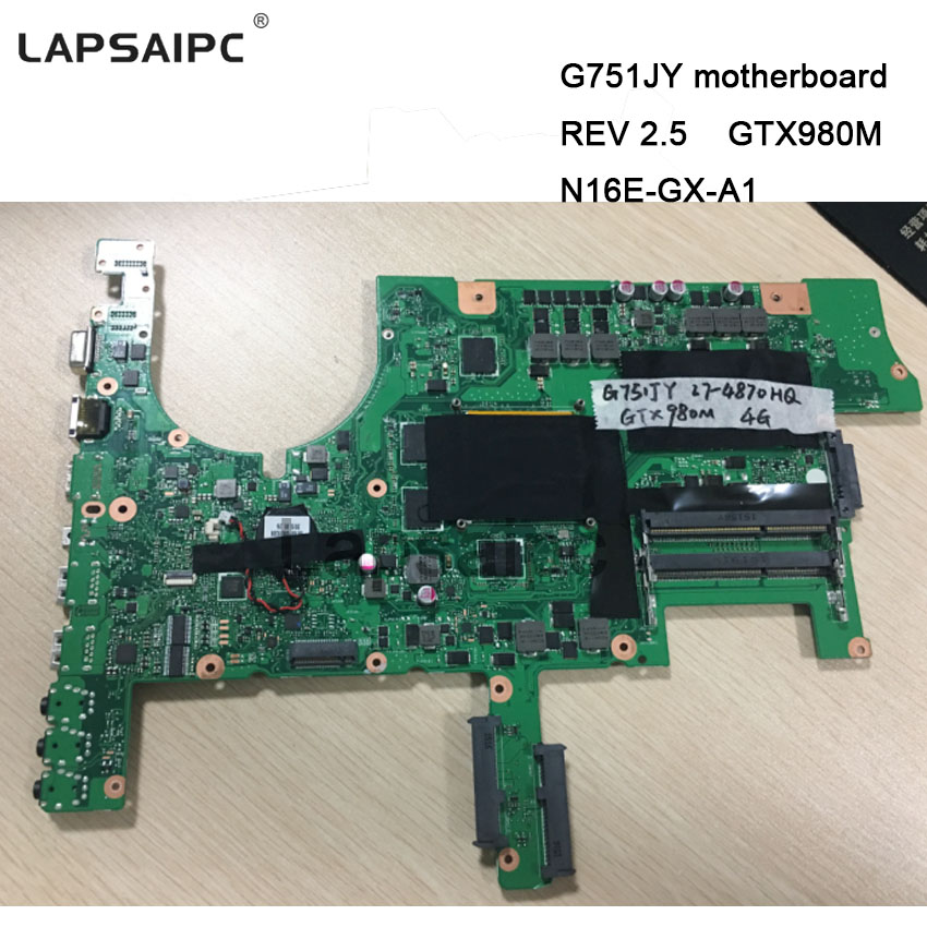 <font><b>G751JY</b></font> <font><b>motherboard</b></font> G751J Laptop mainboard REV 2.5 GTX980M N16E-GX-A1 with graphics card i7-4780 cpu 60NB06F0-MB1900 image