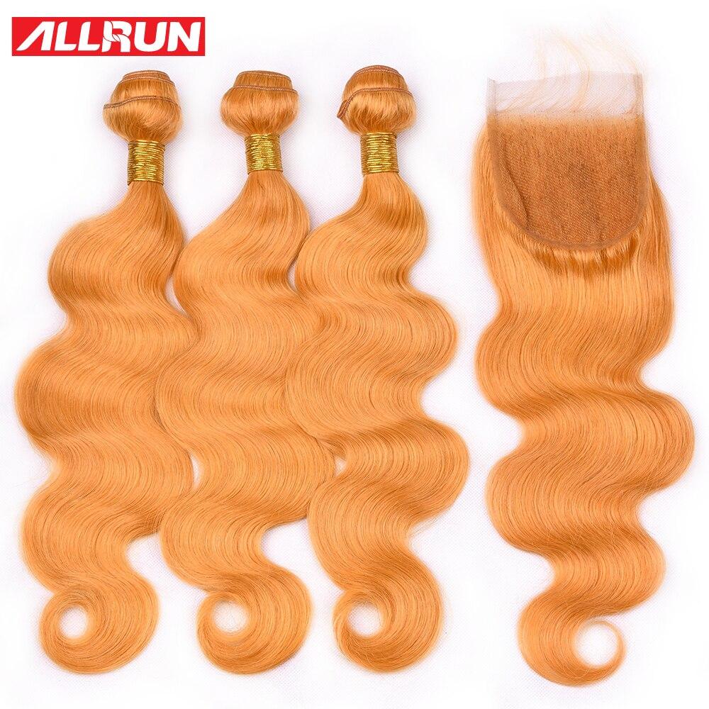 Allrun Body Wave Hair Bundles With Closure Pre Colored Orange 100% Remy Brazilian Human Hair Bundles With Closure 4*4 Hair Weave