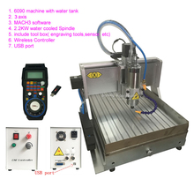 2200W USB CNC Router Engraver 6090 2.2KW CNC Milling Cutting Machine with Water Tank MACH3 Wireless Handwheel Controller(China)