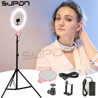 Supon SL 107 Photographic Lighting 384 Led Bi Color 3200K 5500K Dimmable Camera LED Selfie Ring