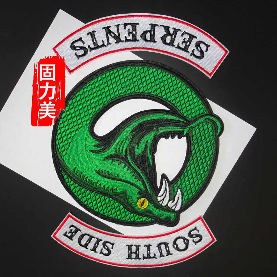 1 комплект, 3 предмета, ревердейл, Southside Serpents, вышивка, зеленая змея, нашивка на вышивке, нашивка для одежды, куртка, жилет, одежда