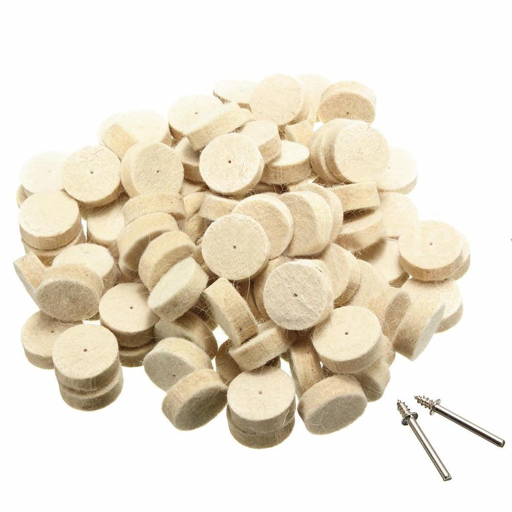 100pcs Wool Felt Polishing Buffing Round Wheel Tool + 2 Shank For Dremel Rotary
