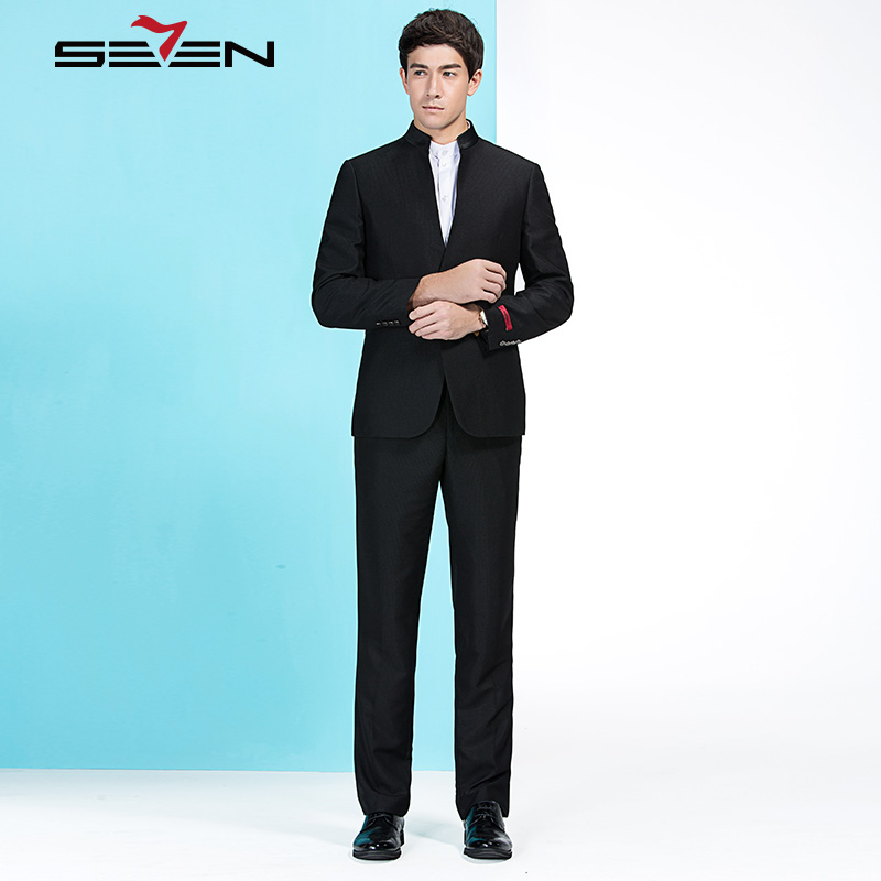 Seven7 Brand New Men's Chinese Style Suits Classic Business Male Dress Top Quality Wedding Suits(Jacket and Pants) 905C1214