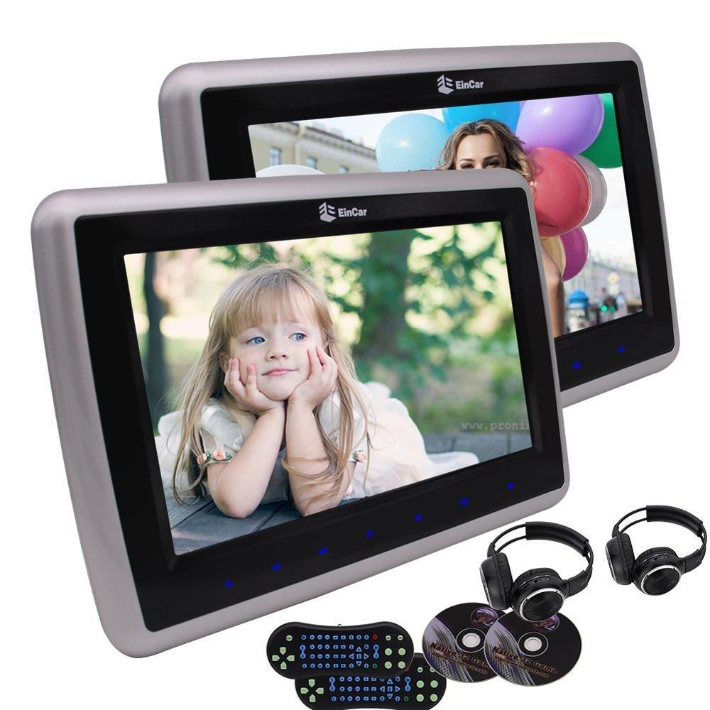 Два наушники + Dual Car Подушка pc cd подголовники dvd плеер автомобиля видео ЖК дисплей Экран Мониторы с 2 шт. ИК наушники FM AV вход/выход USB/SD