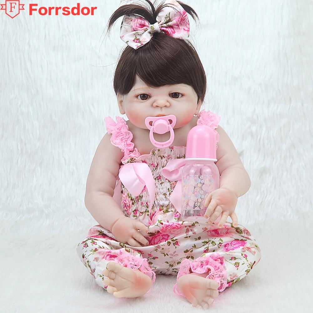 Forrsdor 57 cm Rose arc coiffe Doux Silicone Bébé, bebe reborn corpo de silicone inteiro realista, le spécial cadeaux d'anniversaire.