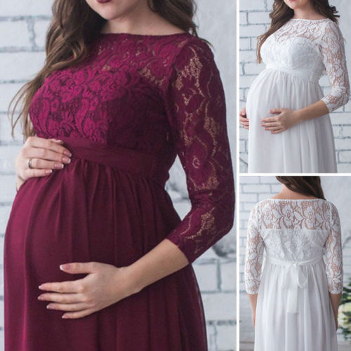 fee788c06f8 2018 New Wine White Lace Pregnant Women Long Maxi Gown Photography Photo  Shoot Maternity Party Dress Fashion Hot