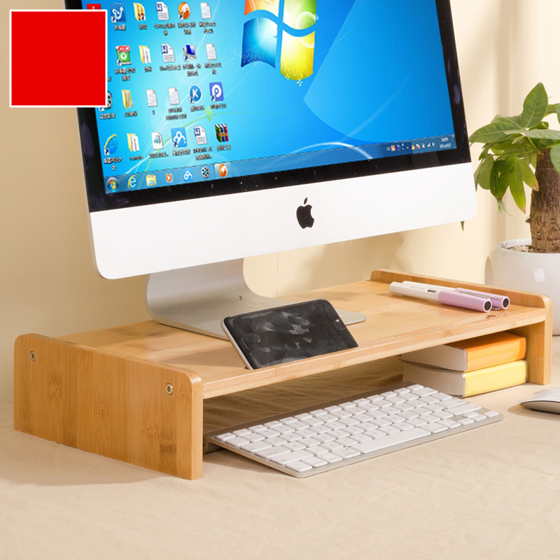 Bamboo Wood Monitor Stand Computer Riser With Storage Organizer Office Desk Laptop Cellphone Printer Desktop Container Natural