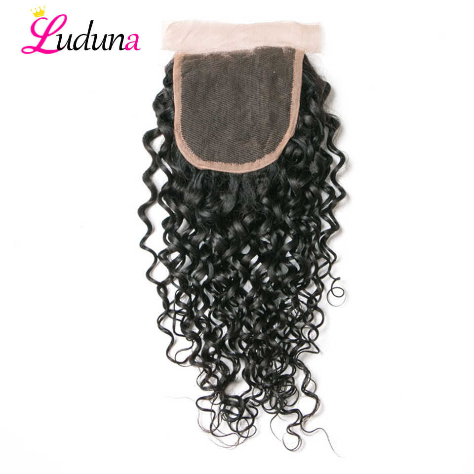 Water Wave Human Hair Lace Closure Brazilian Remy Hair 4*4 Closure With Baby Hair Pre Plucked Natural Black Lace Frontal Closure