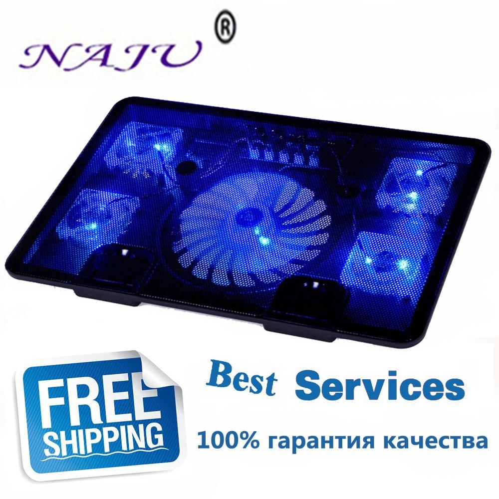 NA JU Brand 5 Fan 2 USB Laptop Cooler Cooling Pad Base LED Notebook Cooler Computer