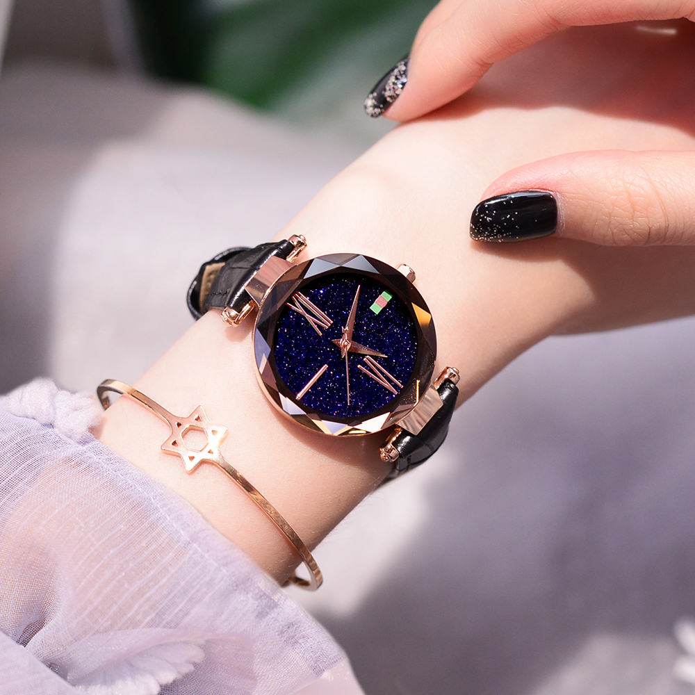 New Fashion Simple Quartz Women Watch 2018 Top Brand Casual Watches Women Luxury Starry Sky Dial Watch Waterproof reloj mujer 2016 new fashion casual simple women s wrist watch analog quartz watches unisex round rose red dial leather solid reloj mujer