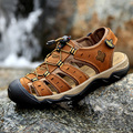2016 new summer brand classic style men's sandals toe cap covering genuine leather fisherman shoes brown plus size 38-48