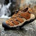 2016 nueva marca de estilo clásico de los hombres de verano sandalias de puntera que cubre el cuero genuino zapatos pescador brown plus size 38-48