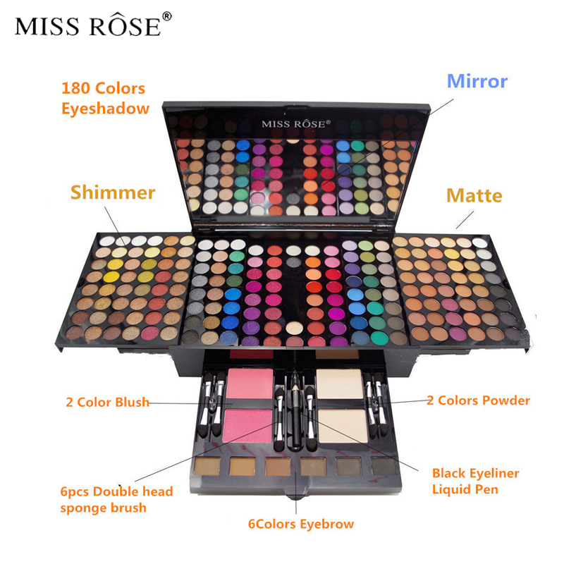 Miss Rose Professional 180 Color Makeup set Piano Box in Aluminum Box Eyeshadow Powder Blush Multifunctional Cosmetic Tool miss rose plate of the piano box eye shadow makeup of dumb light of pearl tray blush powdery cake grooming powder cosmetics box