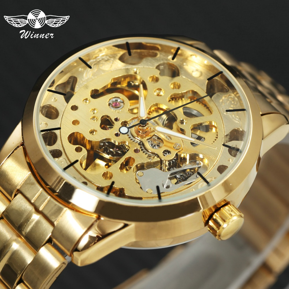 Mechanical Watches Bright 2019 Winner Classic Golden Skeleton Mechanical Watch Men Leather Strap Top Brand Luxury Man Business Vip Drop Shipping Wholesale Watches