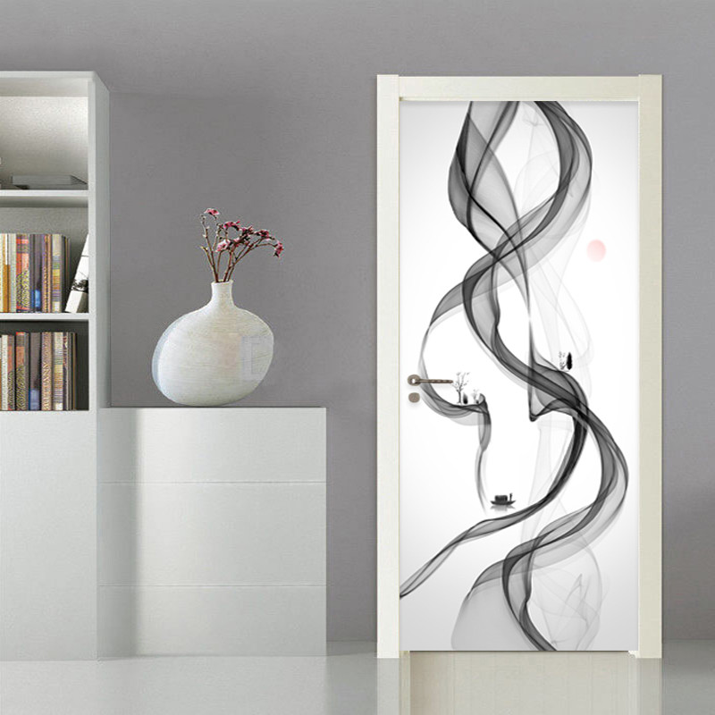Creative Abstract Art Door Sticker 3D Smog Wallpaper Living Room Bedroom Home Decor Door Wall Decals PVC Self-Adhesive Stickers
