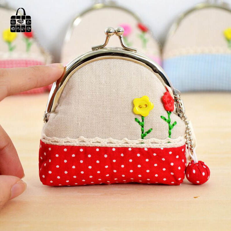 RoseDiary pastoral National Handmade Cloth art zero wallet Women lady Wallets,student&girl children Wallet hasp coin Purse bag